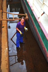 On my 'overalls' working under the boat!