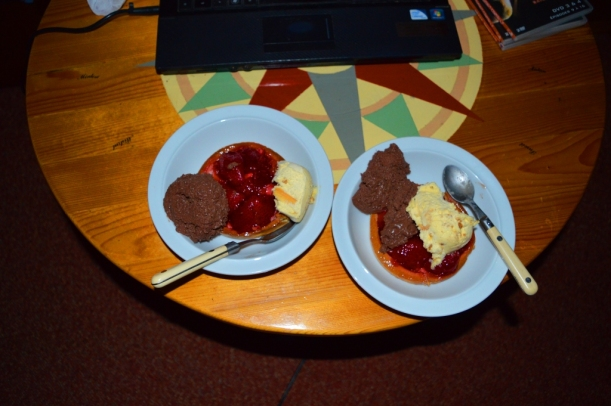 Recovery food! Chocolate mouse, macadamia and vanilla ice-cream and strawberry tart!