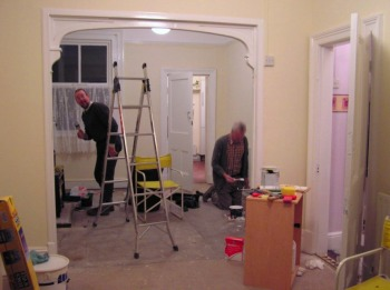 Noel and my dad, (right) - and me blitzed our house in Staffordshire with paint in just a few days. Dad helped us many times over the years!