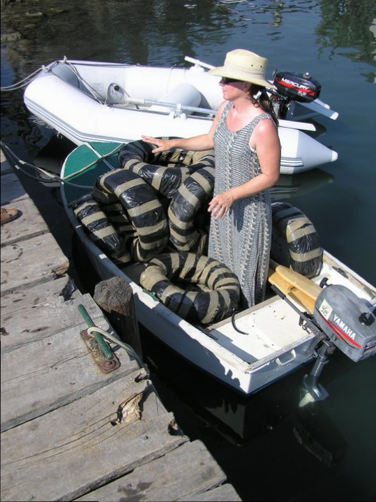 I'm in the dinghy, loading up with rubber tyres to use as fenders on Mariah. I was the smallest, so I got the job of ferrying them to the boat!