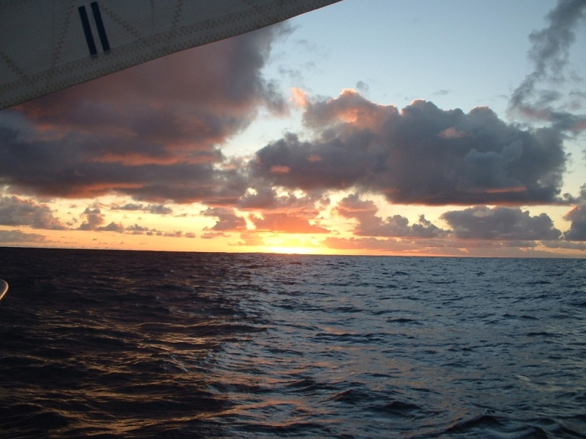 The Atlantic crossing. Vivid sunsets.