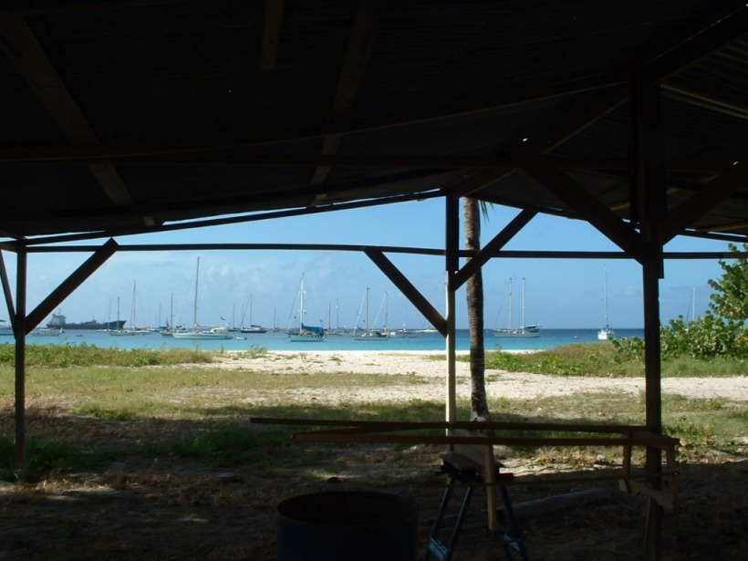 View from the dinghy-building-brothel-workshed.