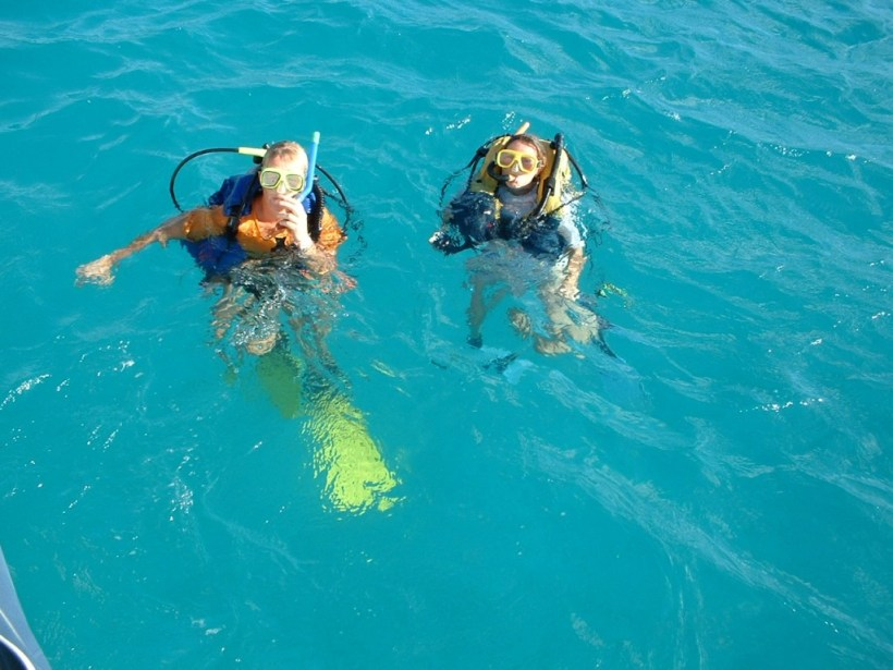 What a life! 'Tash and I have fun diving.