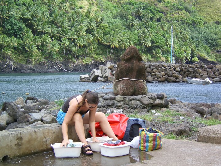 Even in paradise (Fatu Hiva) the washing has to be done