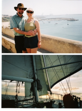 Noel & Jackie in Portugal (top). Down-wind sailing on Mariah - this brings tears of joyful memories...