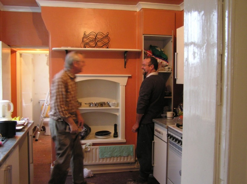 Renovating our house in Staffordshire - again! - the 'bright' paint  was on the ceiling too - the tenants trying to hide the fire damage! (Dad and Noel)