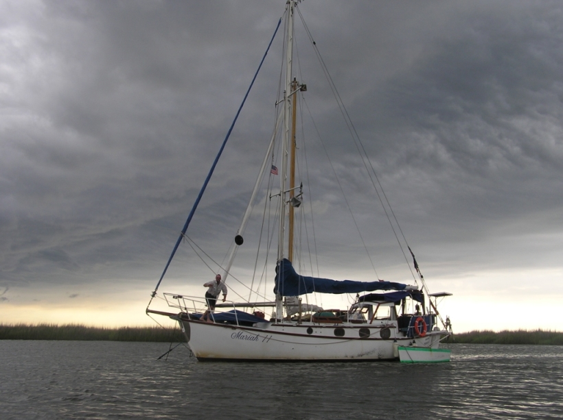 A safe anchorage in an approaching storm - on the east coast