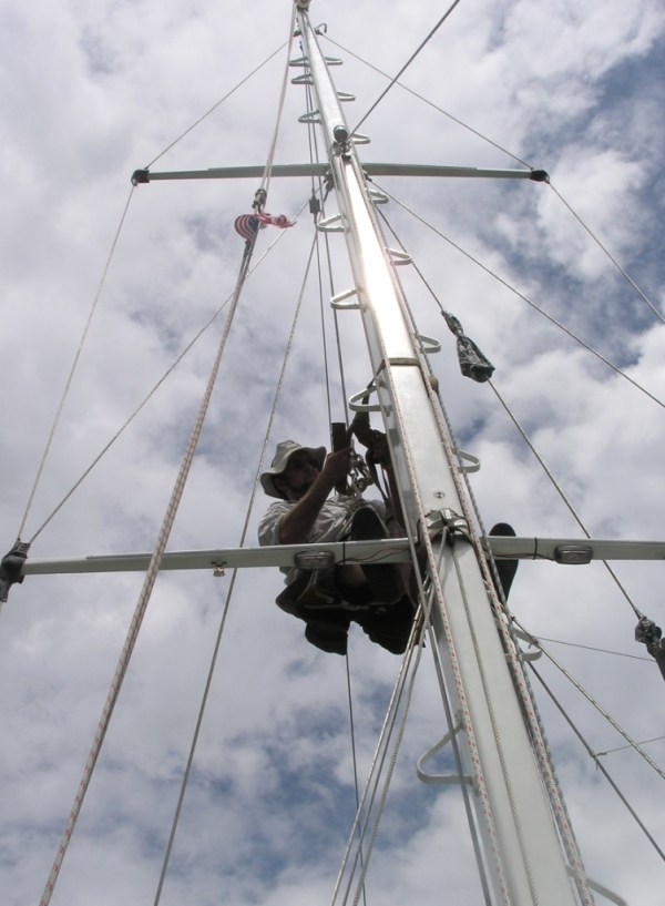 Then the mast comes down as we turn west to go further inland.