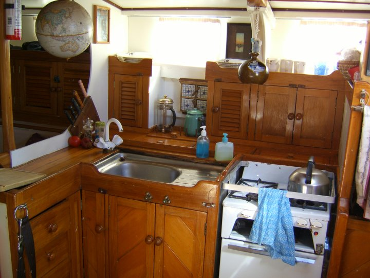 Our galley - where the bread making tuition took place - while Noel was with Aqualung!