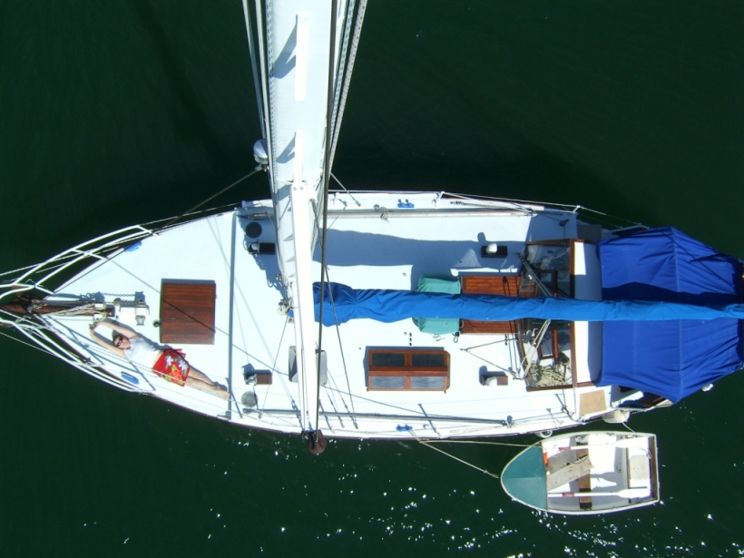 Noel and I took it in turns with all the jobs on board. Noel took his camera up the mast - you can just see me on deck.
