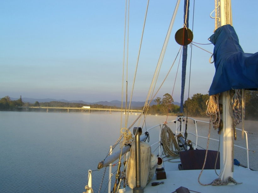 On anchor at Moruya NSW, where we studied to become Master 5 qualified (skipper of vessels up to 24 metres)