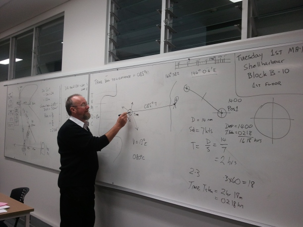 Noel teaching commercial maritime - weather came into most subjects.