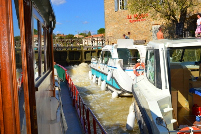 We travelled through a system of 6 locks with these two boats. We let them over-take us on the canal - then they wouldn't let us in the next lock!