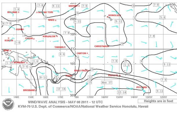 Wind/wave chart for same area as synoptic chart.