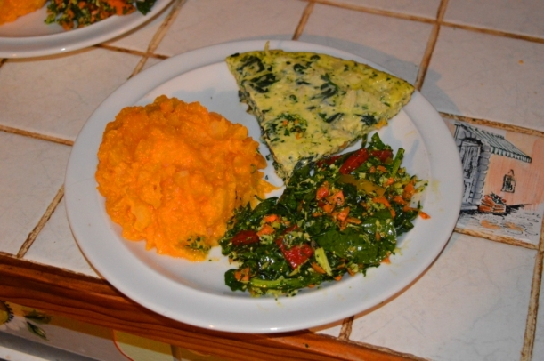 We'd worked hard that day - so I added pumpkin and potato mash and a delicious salad of spinnach, fresh parsley, carrot, zuchinni, onion - yum!