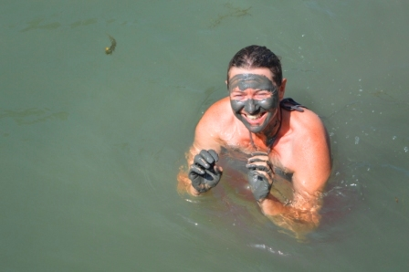 In the Rhone River, France, clay 'beauty' treatment (aka 'playing in mud!')