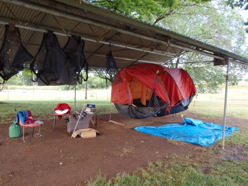 The night the 'super duper' tent leaked (even under cover) - we purchased two (even lighter) single man tents after this!