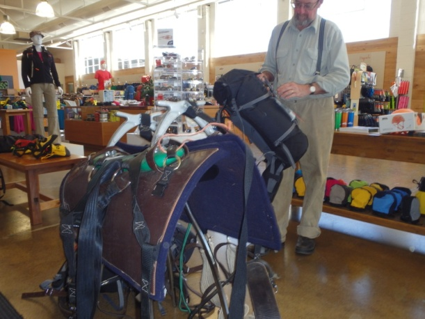 We were throwing out the hard panniers and buying back-packs - the saddle is in the camp shop - they are big and heavy