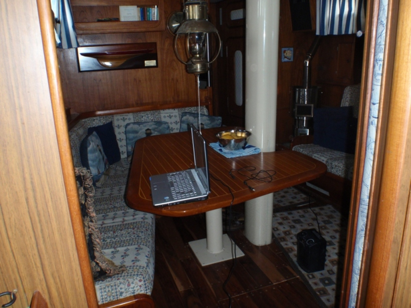Here's the saloon looking forward from the galley.