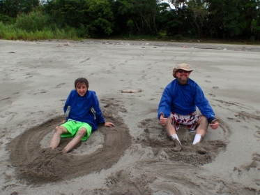 Kieran and Noel messing about in the sand on our Amazon trip!
