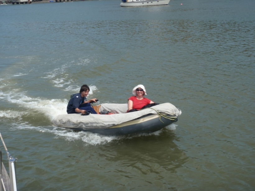 That pesky dinghy motor (Jackie with nephew Kieran)